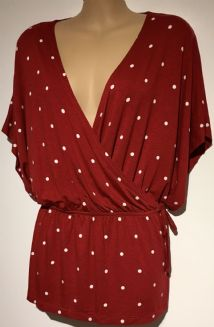RED SPOTTY JERSEY WRAP FRONT TOP SIZES 10-24